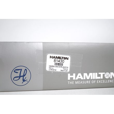 Hamilton Measure of Excellence Gastight Syringes 1002 Removable Needle 2.5 ml